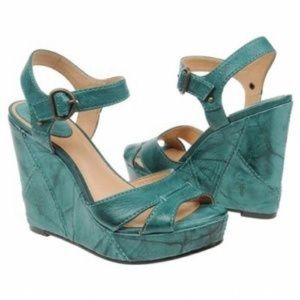 FRYE TURQUOISE CORRINA CAMPUS WEDGE SANDALS